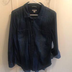 Long sleeve jean shirt button up